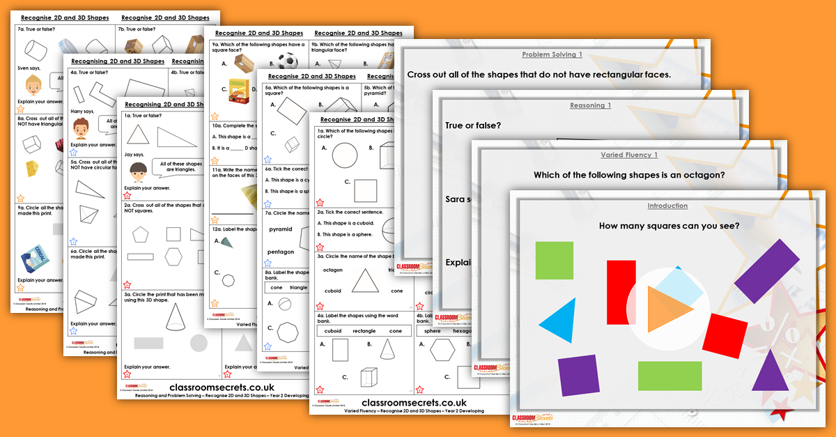 Recognise 2D and 3D Shapes Year 2 Resources