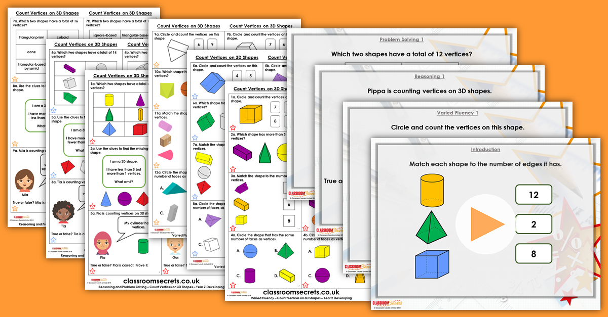Count Vertices on 3D Shapes Year 2 Resources
