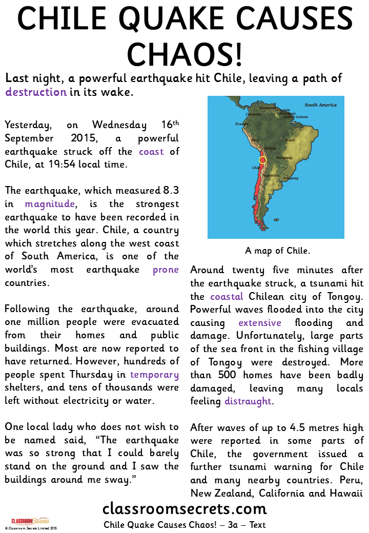 Chile Quake Causes Chaos! (Sapphire) Guided Reading Pack