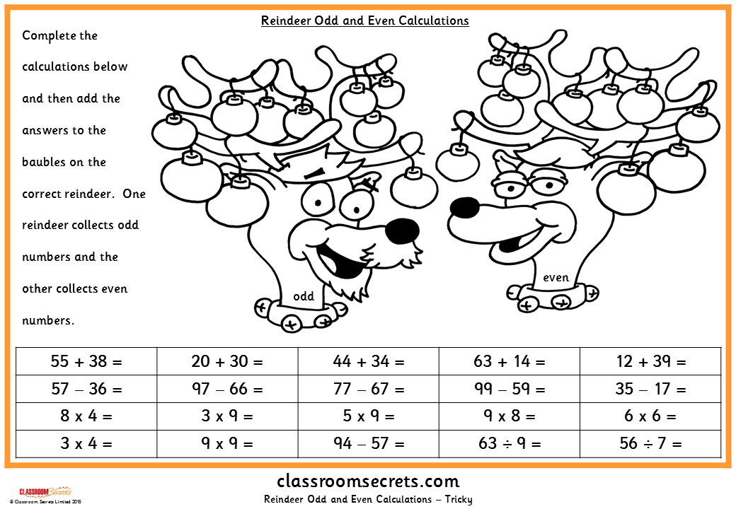 Reindeer Odd and Even Calculations
