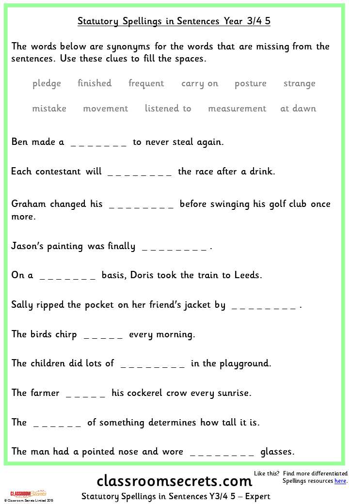 Year 3/4 Statutory Spellings in Sentences (Set 5)