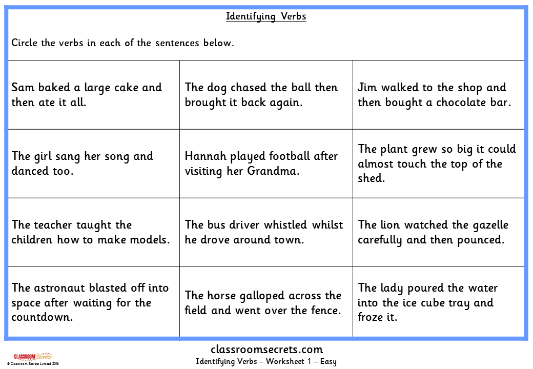 Identifying Verbs KS1 SPAG Test Practice