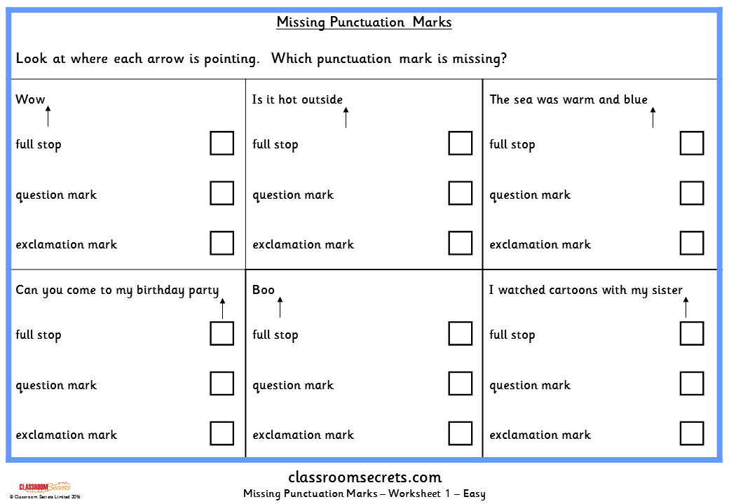 Missing Punctuation Marks KS1 SPAG Test Practice - Classroom Secrets ...