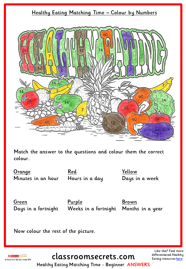 Healthy Eating Matching Time Colour by Numbers