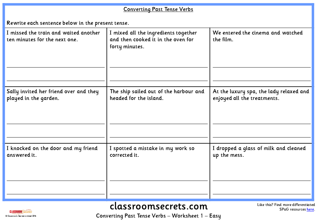 Converting Past Tense Verbs KS2 SPAG Test Practice