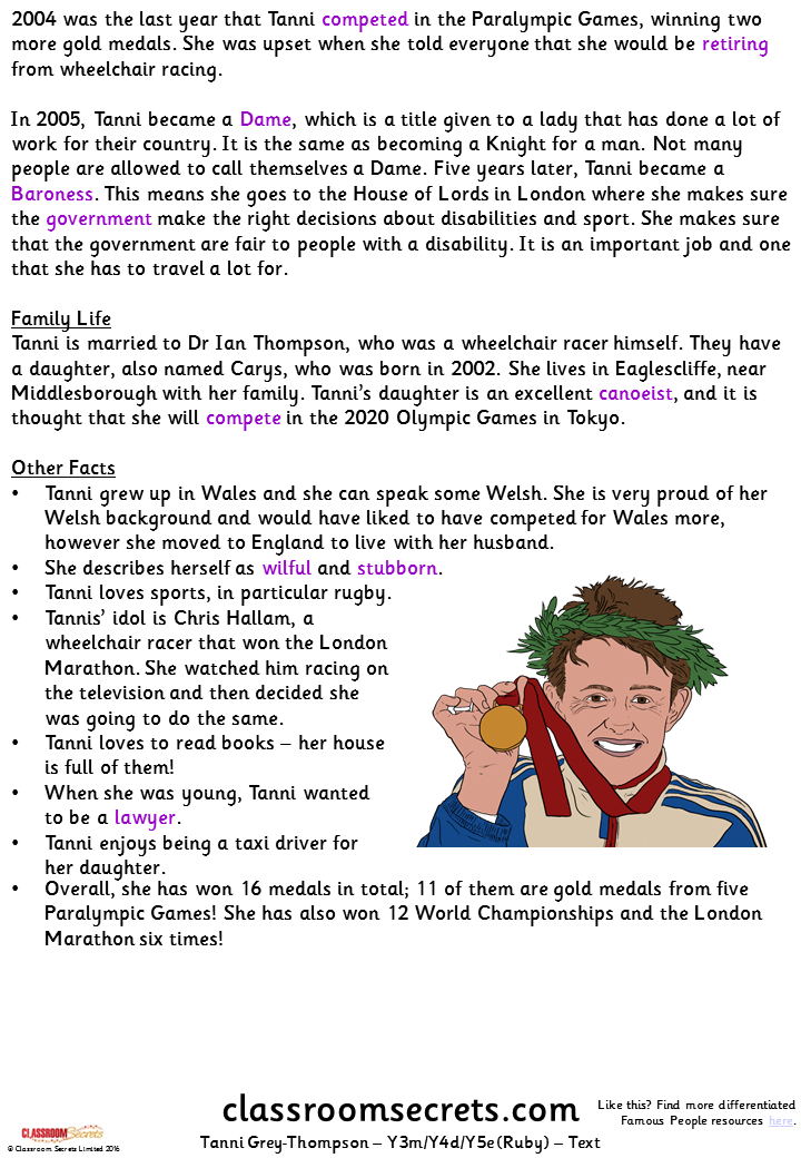 Tanni Grey-Thompson (Y3m/Y4d/Y5e) Guided Reading Pack