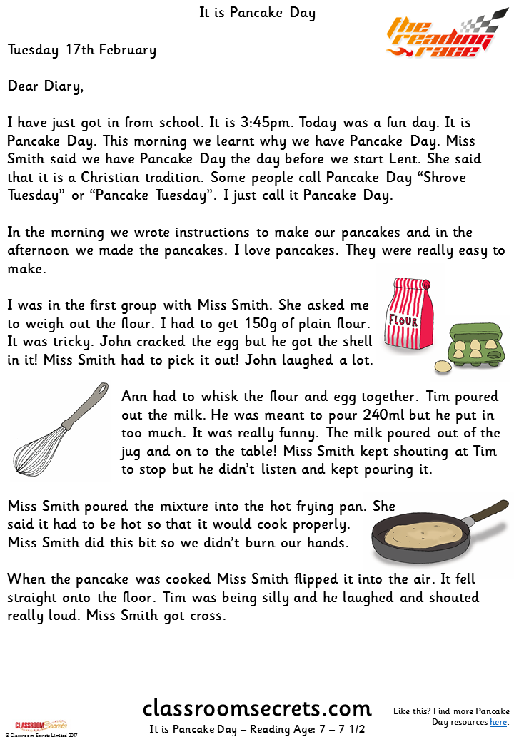 It is Pancake Day (Y1s/Y2e) The Reading Race