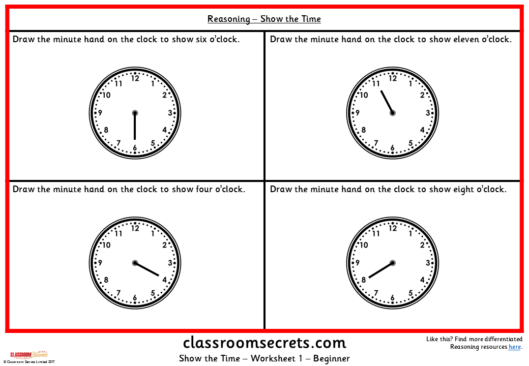 Show the Time KS1 Reasoning Test Practice