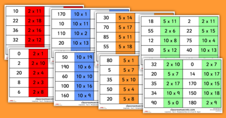 Year 2 Multiplication Facts Game for 2, 5 and 10 Loop Cards