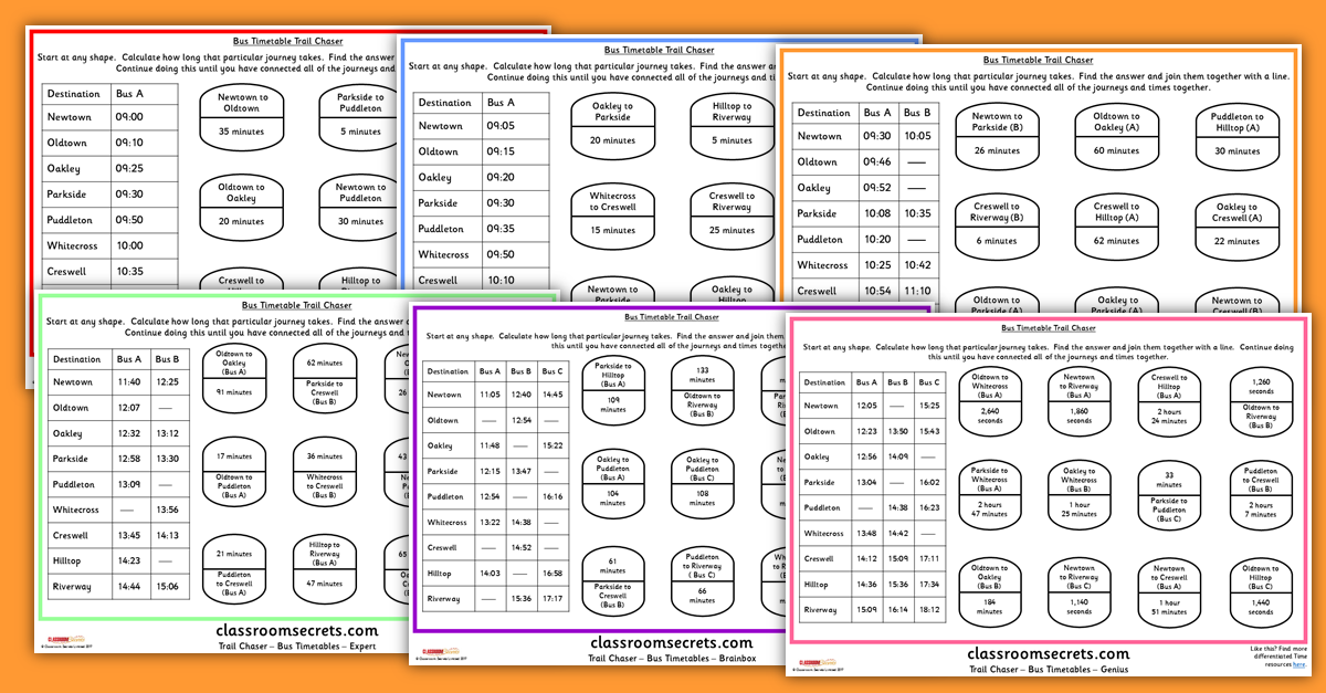 KS2 Bus Timetables Worksheet