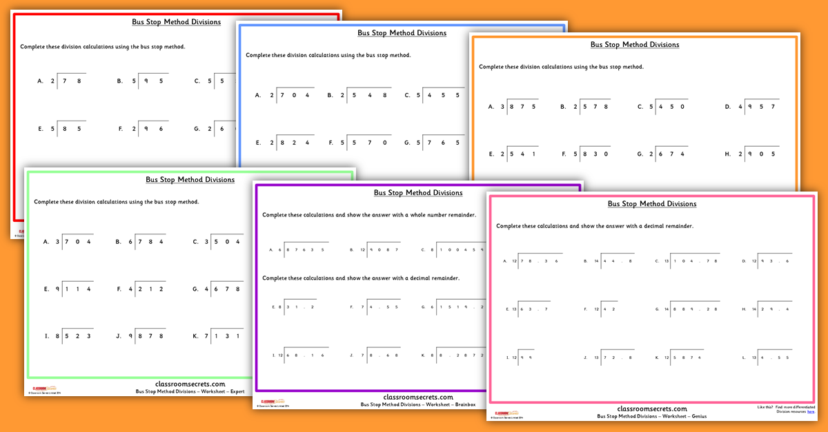 KS2 Written Method Bus Stop Method Division Worksheets – Division Worksheets Ks2