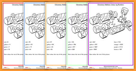 Christmas Addition Colour by Numbers Worksheets