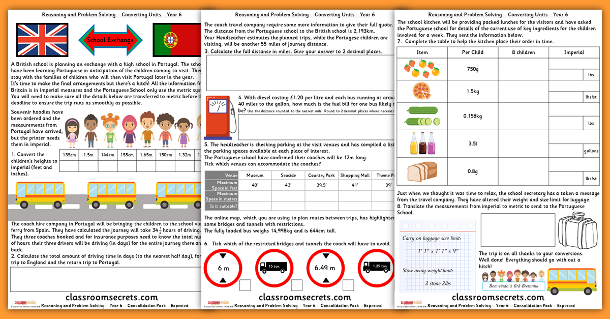 Converting Units Consolidation Year 6 Resources