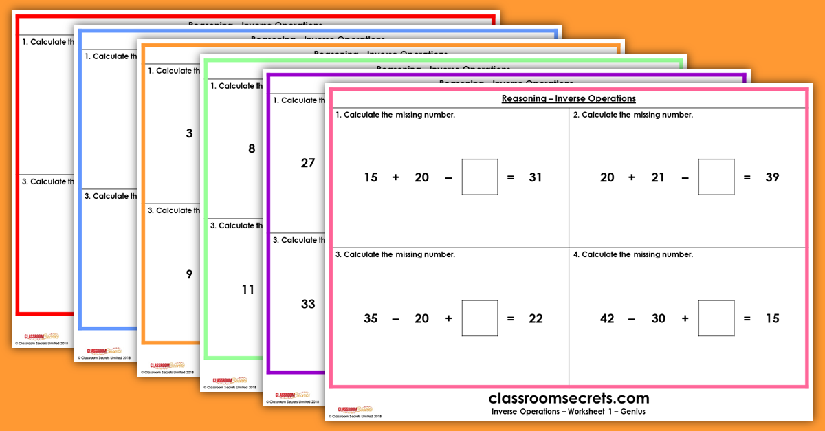KS1 Reasoning Inverse Operations Resources
