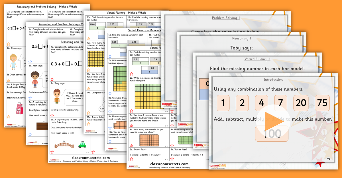 Mixed Age Year 3 and 4 Fractions and Decimals Step 13 Resources