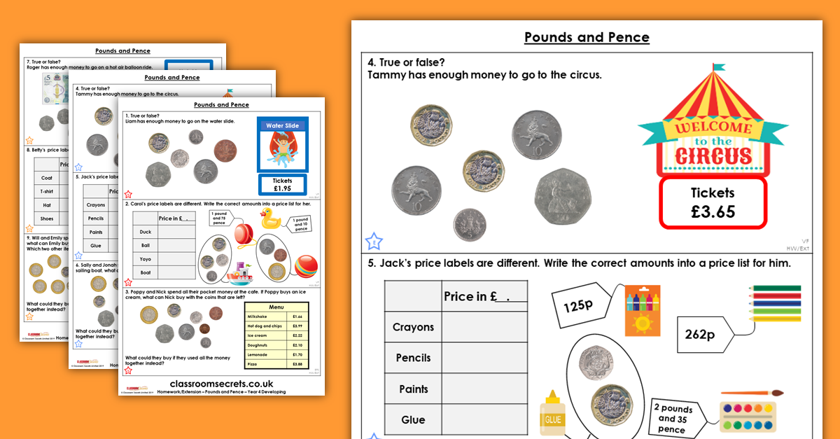 Pounds and Pence Homework