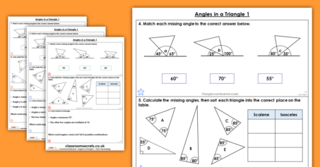 Angles in a Triangle 1 Homework Extension Year 6 Properties of Shape