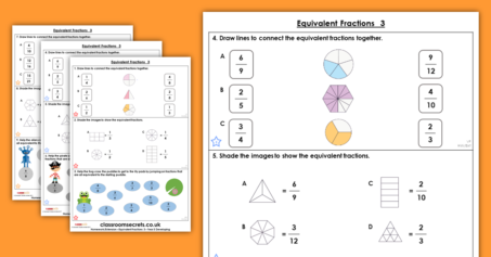 Equivalent Fractions 3 Homework Extension Year 3 Fractions
