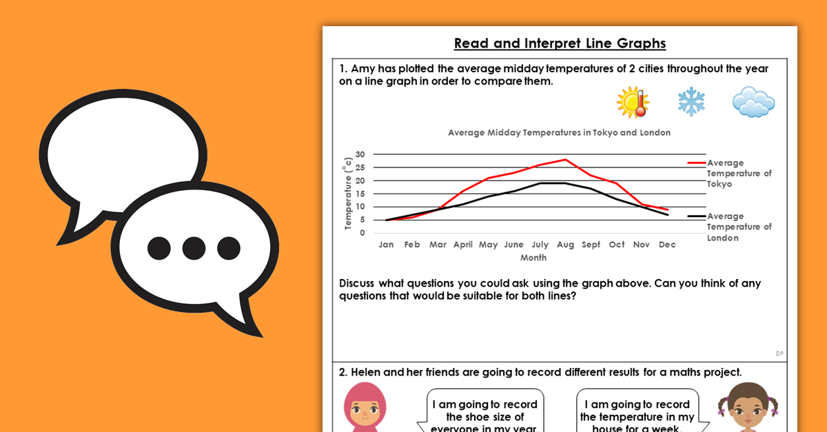 Year 6 Read and Interpret Line Graphs Discussion Problems