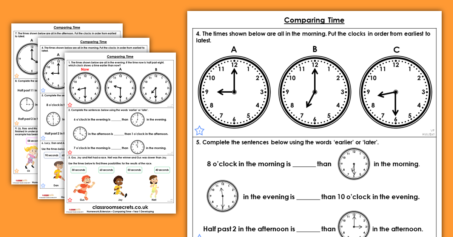 Comparing Time Homework Extension Year 1 Time