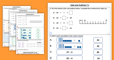 Add and Subtract 1s Homework Extension Year 2 Addition and Subtraction