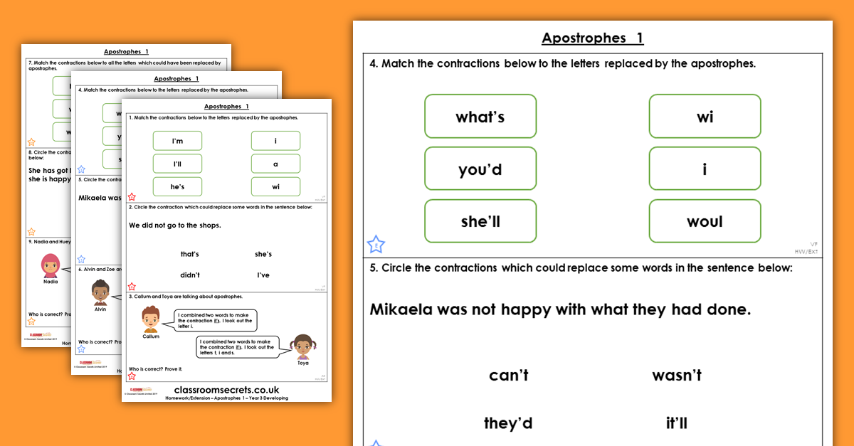 Year 3 Apostrophes 1 Homework