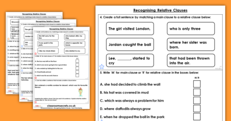 Year 5 Recognising Relative Clauses Homework Extension Relative Clauses