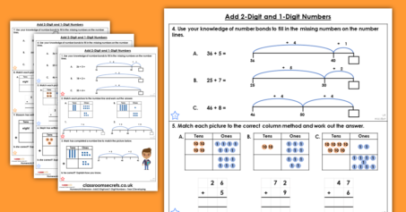 Add 2-Digit and 1-Digit Numbers Homework Extension Year 2 Addition and Subtraction