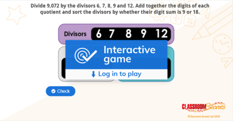 Year 6 Long Division 2 IWB Four Operations Activity