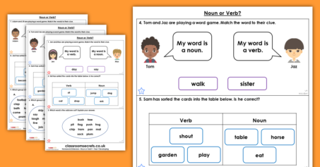 Year 1 Noun or Verb? Homework Extension Word Classes