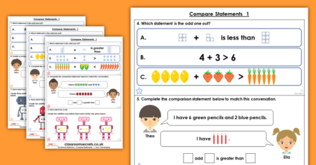 Compare Statements 1 Homework Extension Year 1 Addition and Subtraction
