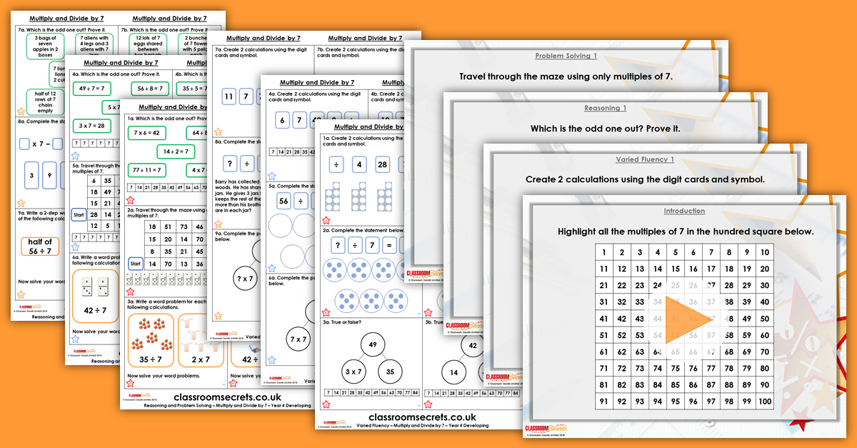 Multiply and Divide by 7 Year 4 Resources