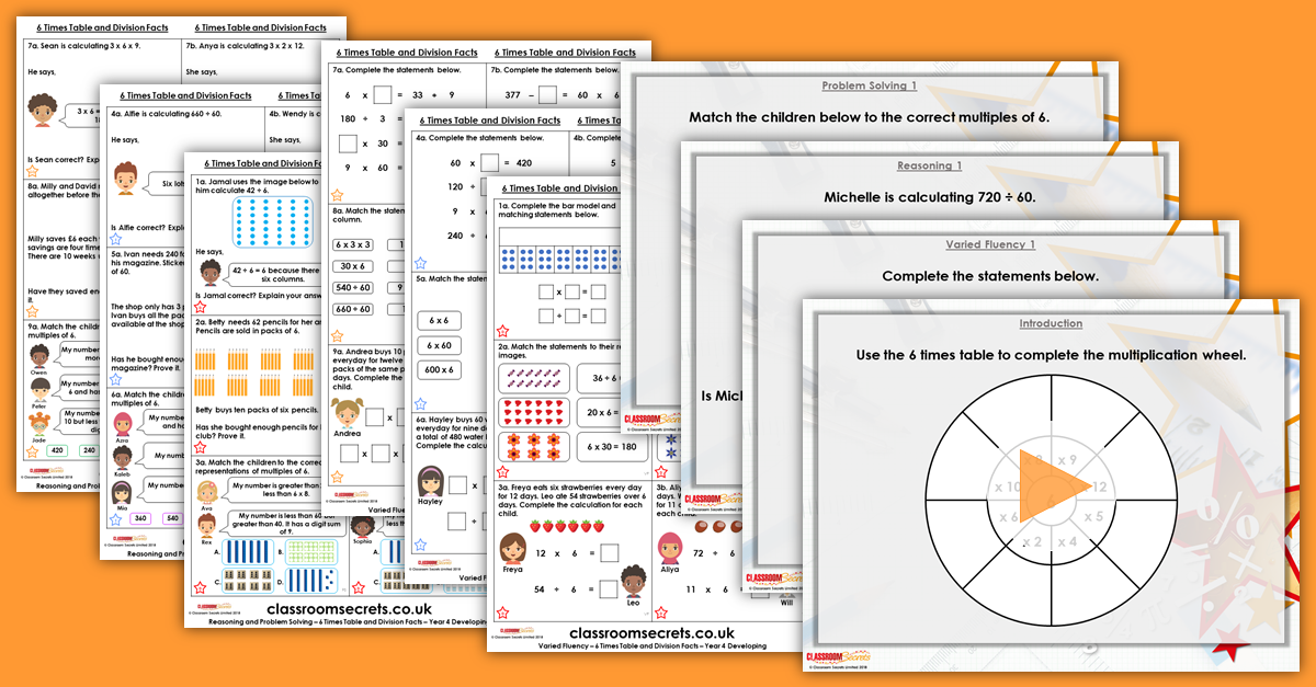 6 Times Table and Division Facts Year 4 Resources