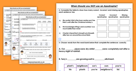 Year 4 When Should you NOT use an Apostrophe? Homework Extension Apostrophes