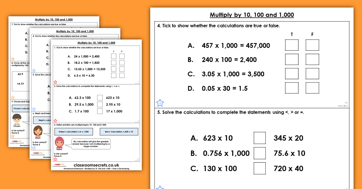 Multiply by 10, 100 and 1,000 Homework