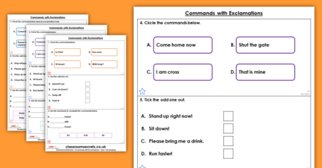 Year 1 Commands with Exclamations Homework Extension Exclamations