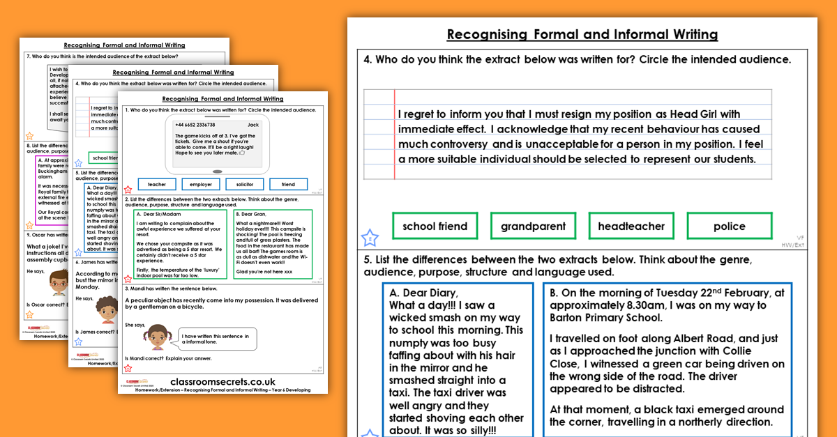 Free Recognising Formal and Informal Writing Homework