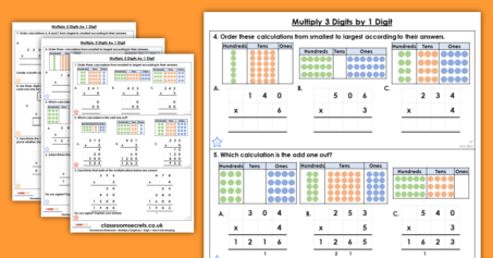 Multiply 3 Digits by 1 Digit Homework Extension Year 4 Multiplication and Division