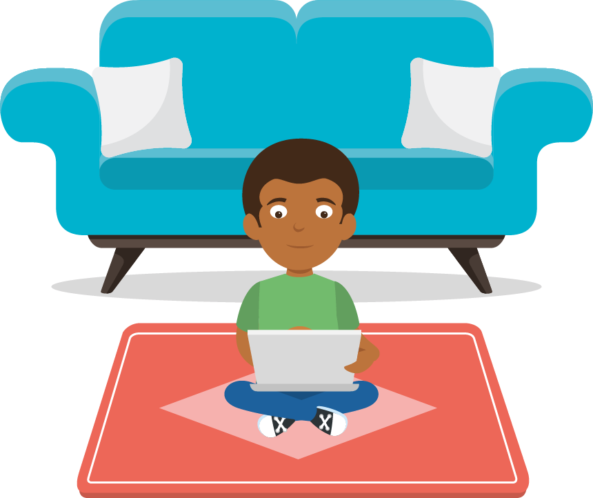 Illustration of a child learning at home on a laptop