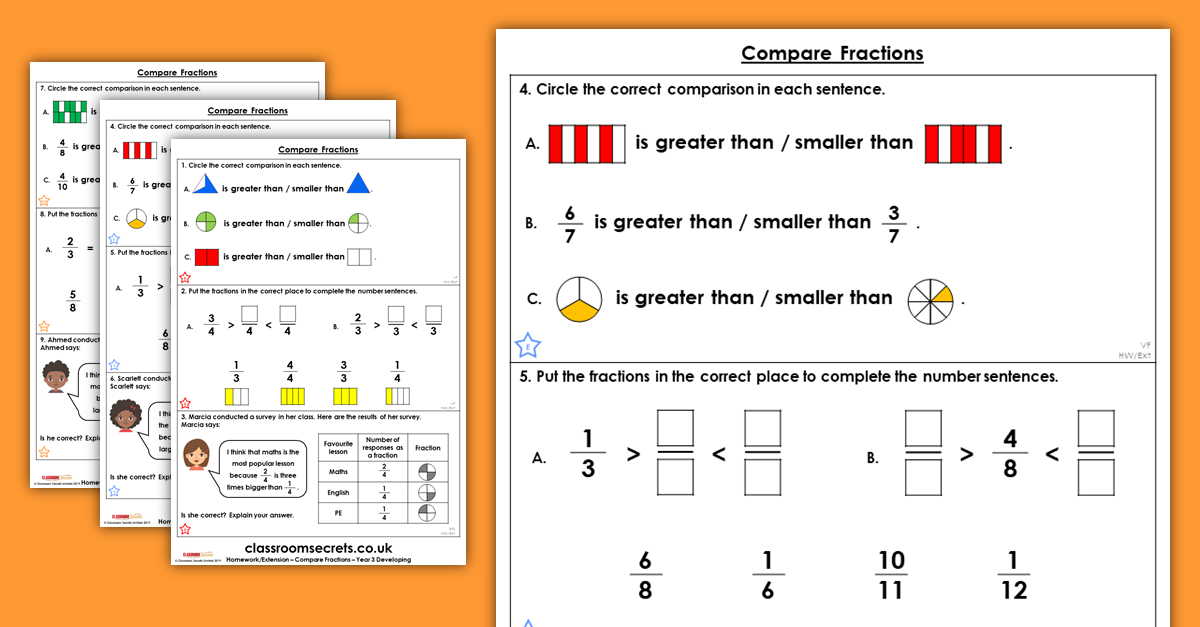 Compare Fractions Homework