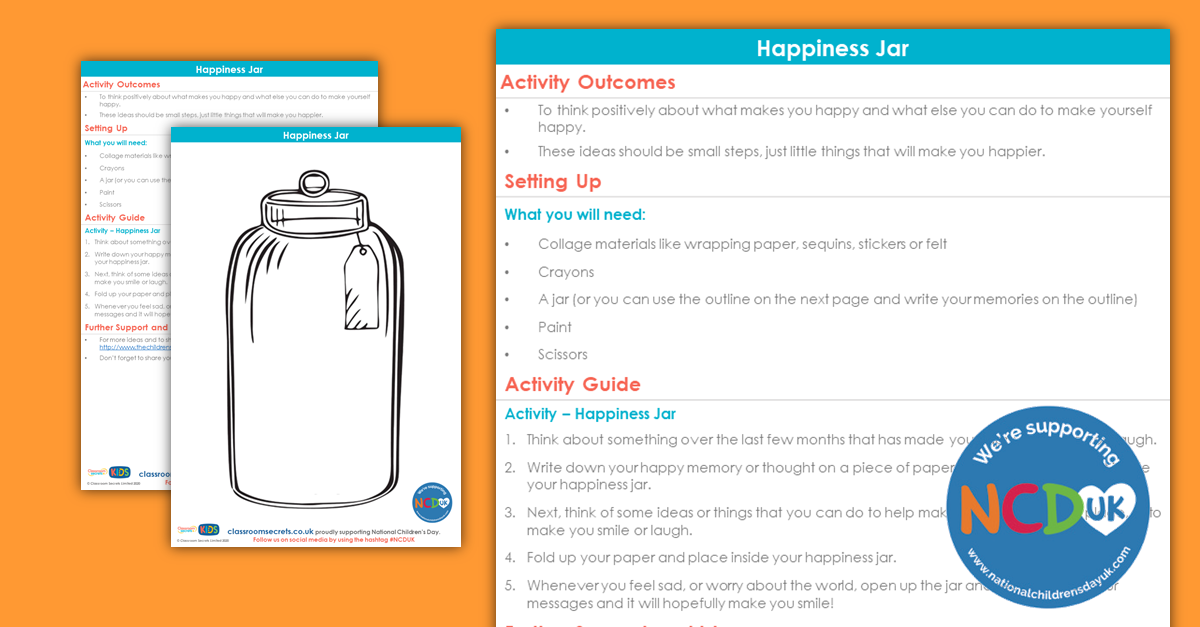 Free Happiness In A Jar National Children S Day Pshe Activity Classroom Secrets